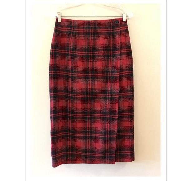 9d608696c9 Talbots Skirts | Red Black Plaid Wool Button Wrap Skirt 8 | Poshmark
